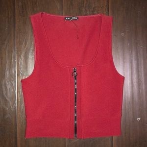 EXPRESS XS CROPPED ZIP TANK TOP